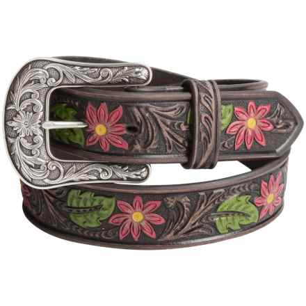 Ariat Painted Floral-Embossed Belt - Leather (For Women) in Brown - Closeouts