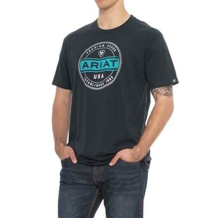 Ariat Premium Goods T-Shirt - Short Sleeve (For Men) in Navy - Overstock