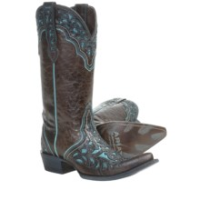 Ariat Presidio Cowboy Boots - Leather (For Women) in Chocolate/Turquoise - Closeouts