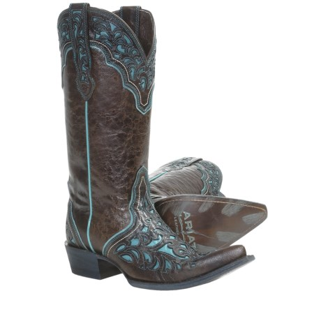 Ariat Presidio Cowboy Boots - Leather (For Women) in Chocolate/Turquoise