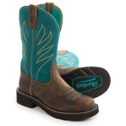 Ariat Probaby Flame Cowboy Boots - Leather, Fatbaby Toe (For Women) in Brown/Turquoise - Closeouts