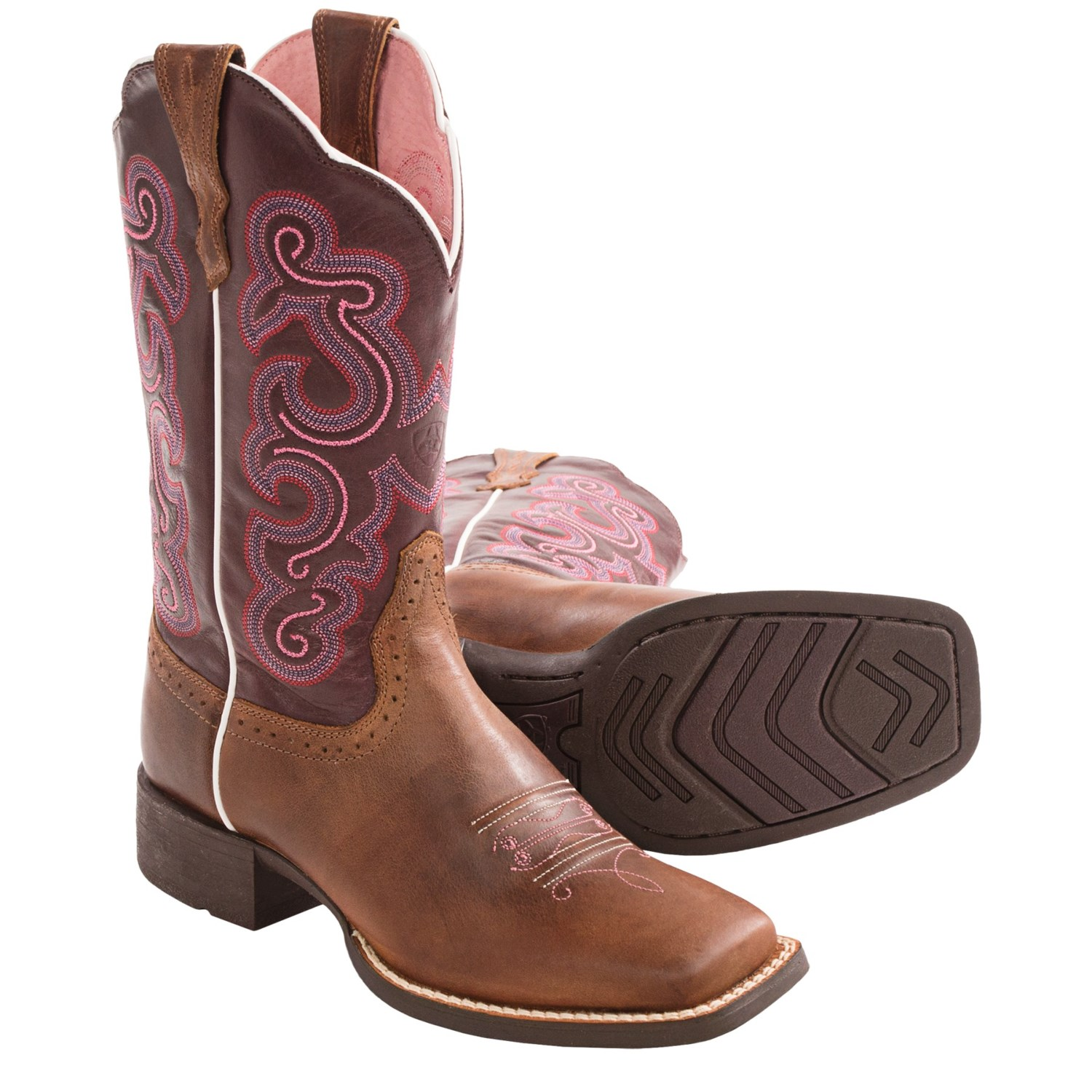 ariat quickdraw cowboy boots square toe leather for