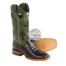 "Ariat Ranchero Cowboy Boots - 13"", Square Toe (For Men) in Chocolate Gator Print/Green - Closeouts"
