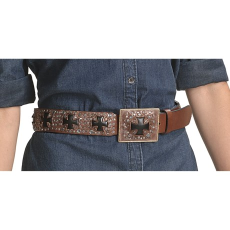 Ariat Ransom Belt - Leather (For Women) in Brown Silver/Black Cross