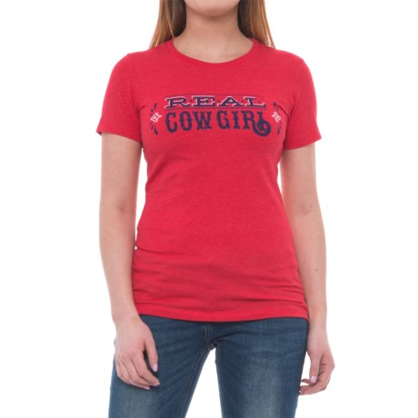 Ariat Relentless REAL Cowgirl T-Shirt - Short Sleeve (For Women) in Red