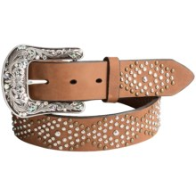 Ariat Rhinestone and Nailhead Belt - Leather (For Women) in Brown - Closeouts