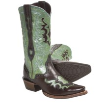 Ariat Rienda Cowboy Boots - X-Toe, Leather (For Women) in Subtle Chocolate/Rodeo Teal - Closeouts