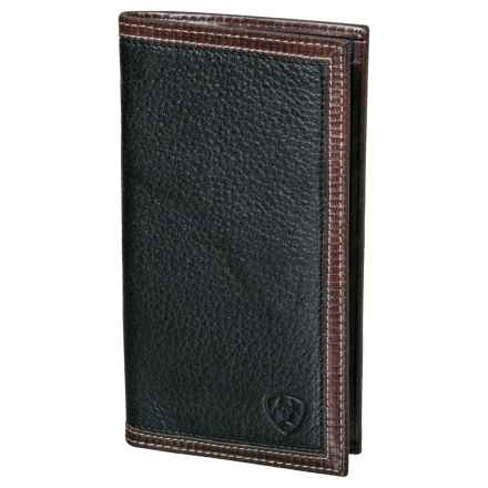 Ariat Rodeo Wallet/Checkbook Cover - Leather (For Men) in Black/Tan - Closeouts