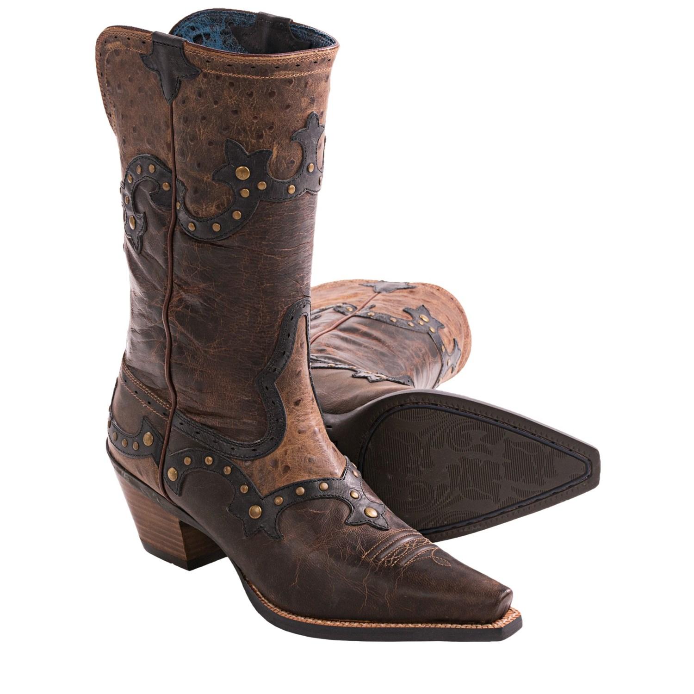 Awesome Vintage Women39s Garner Moss Ostrich Cowboy Boots By Hallokatzchen