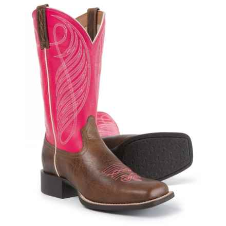 "Ariat Round Up Wide Cowboy Boots - 11"", Square Toe (For Women) in Wicker/Hot Pink - Closeouts"