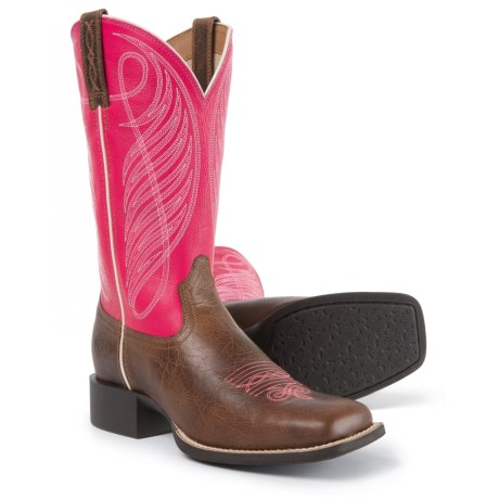 """Ariat Round Up Wide Cowboy Boots - 11"""", Square Toe (For Women) in Wicker/Hot Pink"""