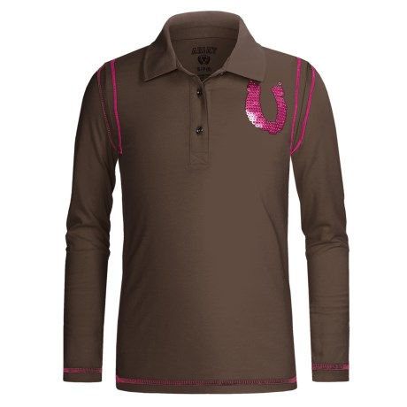Ariat Sequin Horseshoe Polo Shirt - Long Sleeve (For Girls) in Espresso