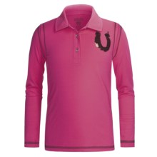 Ariat Sequin Horseshoe Polo Shirt - Long Sleeve (For Girls) in Super Pink - Closeouts