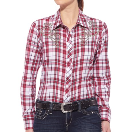 Ariat Shasta Shirt - Snap Front, Long Sleeve (For Women) in Red/White