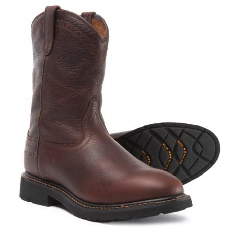 Ariat Sierra Pull-On Work Boots - Leather (For Men) in Dark Brown