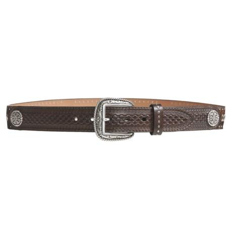 Ariat Silver Bullet Belt - Leather, Silver Buckle (For Men) in Light Brindle/Antique Dark Brown