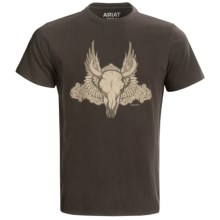 Ariat Skull T-Shirt - Short Sleeve (For Men) in Espresso - Closeouts