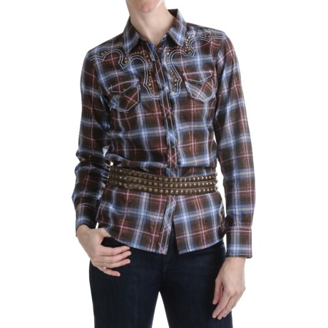Ariat Skylar Shirt - Snap Front, Long Sleeve (For Women) in Multi Espresso Plaid