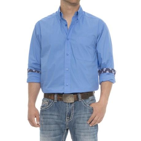 Ariat Solid Poplin Shirt - Long Sleeve (For Men) in Delphinium