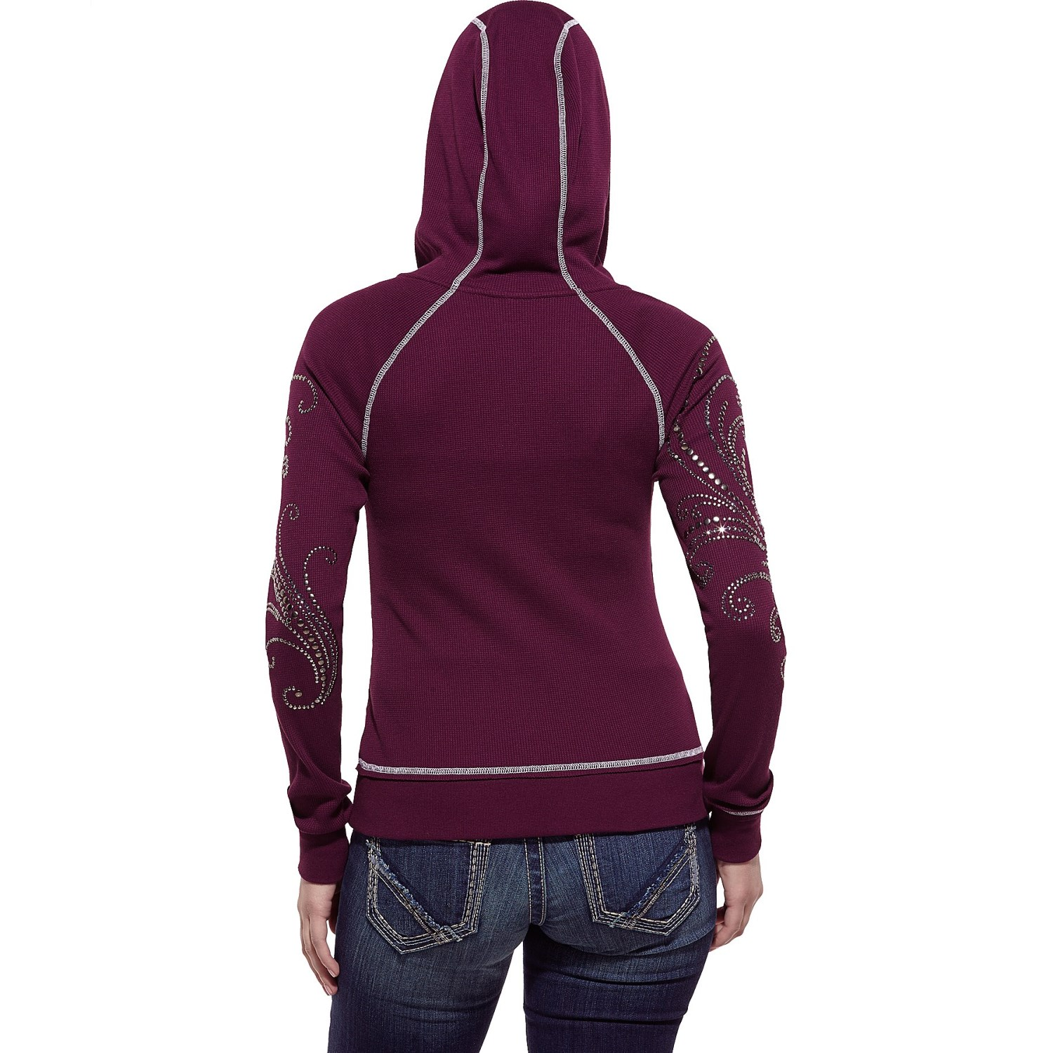 Knitting Pattern Womens Hoodie : Ariat Stud Waffle-Knit Hoodie (For Women) 8972P - Save 69%
