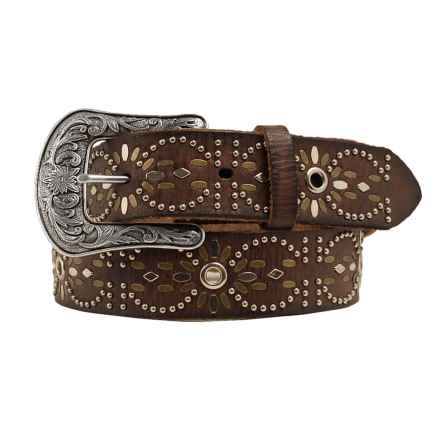 Ariat Studded Eyelet Leather Belt (For Women) in Brown - Closeouts