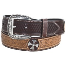 Ariat Tanglewood Belt - Leather (For Men) in Antique Dark Brown/Tan - Closeouts