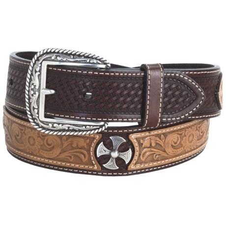 Ariat Tanglewood Belt - Leather (For Men) in Antique Dark Brown/Tan