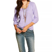 Ariat Temple Henley Shirt - Short Sleeve (For Women) in Cloud Orchid - Closeouts