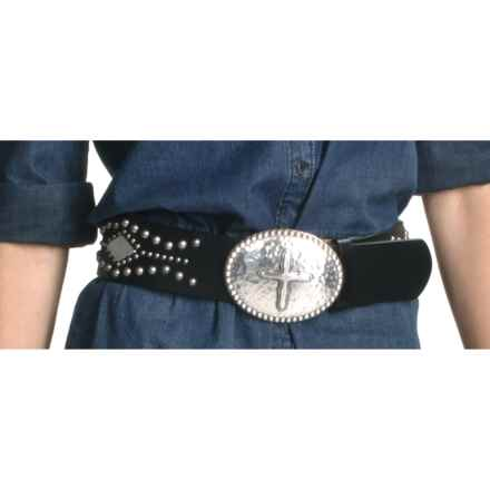 Ariat Tesoro Belt - Leather, Pounded Silver Buckle (For Women) in Black/Silver - Closeouts