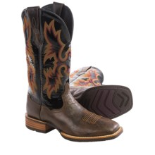 "Ariat Tombstone Cowboy Boots - 13"", Square Toe (For Men) in Thunder Brown/Black Patent - Closeouts"