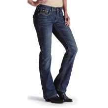 Ariat Turquoise Xcross Jeans - Stretch Denim, Bootcut Leg (For Women) in Sugar Devil - Closeouts