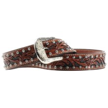 Ariat Western Scroll Belt - Leather (For Men) in Antique Brown - Closeouts