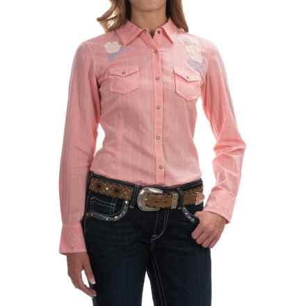 Ariat Wicker Embroidered Western Shirt - Snap Front, Long Sleeve (For Women) in Bright Peach - Overstock