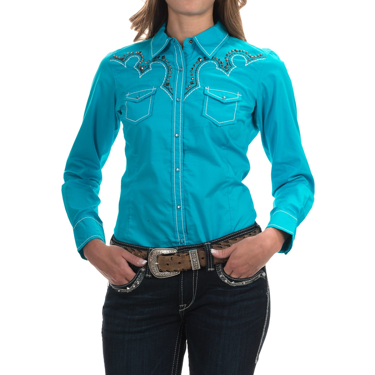 Ariat willow fitted western shirt for women save 41 for Women s turquoise long sleeve shirt