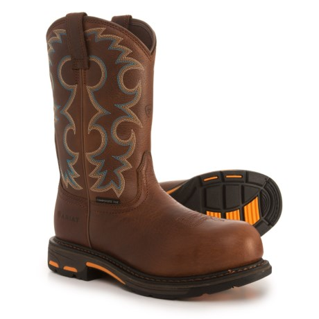 """Ariat WorkHog Cowboy Work Boots - Composite Safety Toe, 11"""" (For Women) in Nutty Brown"""