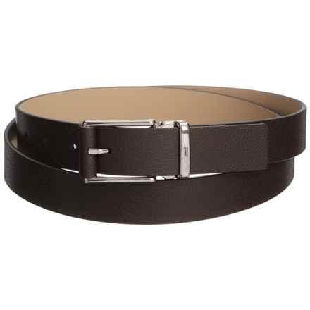 Armani Collezioni Classic Leather Belt (For Men) in Dark Brown - Closeouts