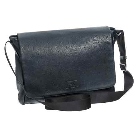 Collezioni Messenger Bag - Leather (For Men) in Navy - Closeouts