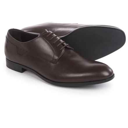 Armani Oxford Shoes - Leather, Round Toe (For Men) in Ebony Brown - Closeouts
