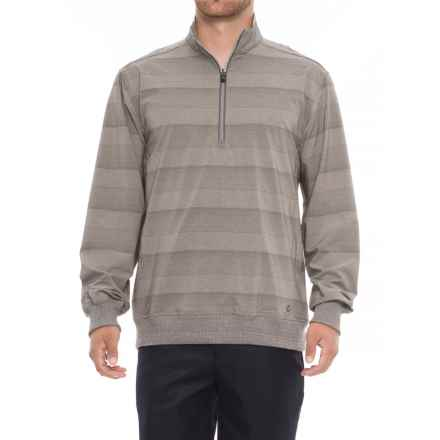 Arnold Palmer Boca West Golf Shirt - Zip Neck, Long Sleeve (For Men) in Sand Heather - Closeouts