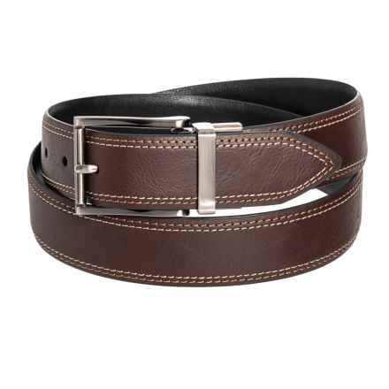 Arrow 35mm Double-Stitched Reversible Belt - Leather (For Men) in Brown/Black - Closeouts