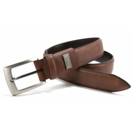 Arrow Burnished Flex Feather-Edge Belt - Leather (For Men) in Cognac
