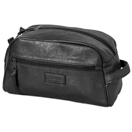Arrow Embossed Logo Travel Kit - Leather (For Men) in Black