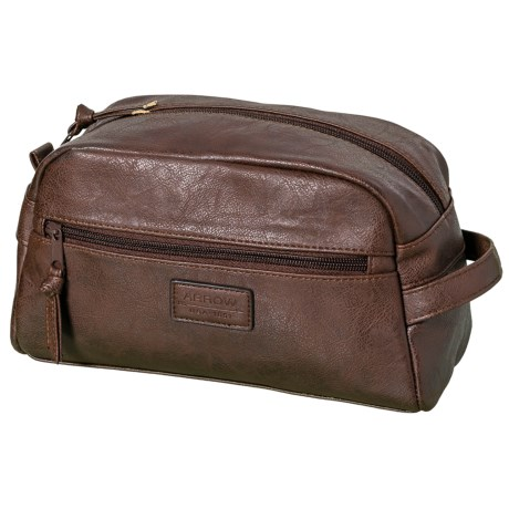 Arrow Embossed Logo Travel Kit - Leather (For Men) in Brown
