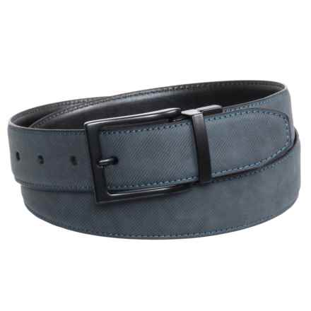 Arrow Reversible Buckle Belt - Leather (For Men) in Navy/Black - Closeouts