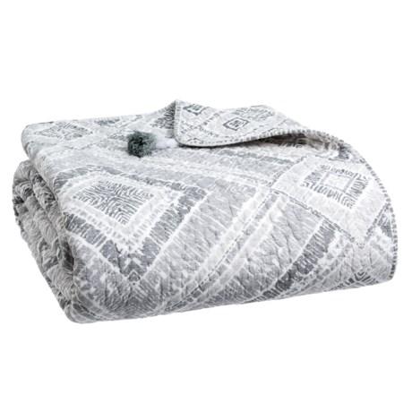 Artisan de Luxe Blocked Ikat Quilt - Full-Queen in Grey