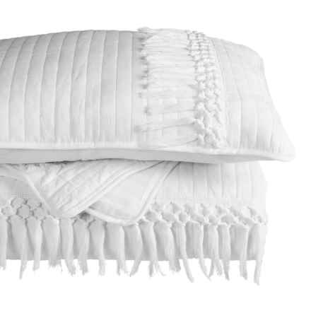 Artisan de Luxe Channel Stitch Quilt Set - Full-Queen, Macrame Trim in Bright White - Closeouts