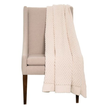 "Artisan de Luxe Chunky Honeycomb Throw Blanket - 50x60"" in Ivory"