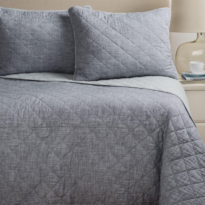 Artisan De Luxe Diamond Slub-Cotton Quilt Set - Full-Queen - Save 50% : dark gray quilt - Adamdwight.com