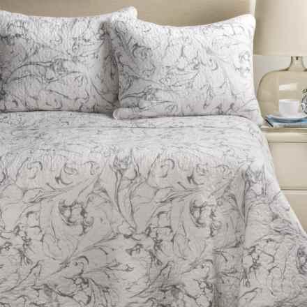 Artisan de Luxe Marble Swirl Quilt Set - Full-Queen in Silver C1 - Closeouts