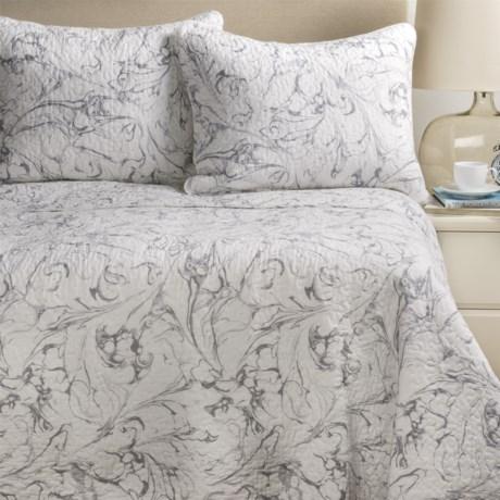 Artisan De Luxe Marble Swirl Quilt Set - Full-Queen in Silver C1